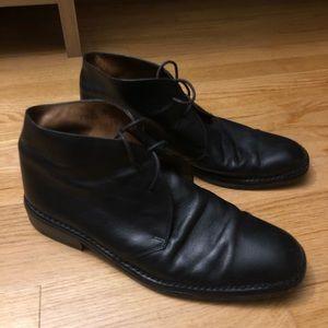 John Varvatos Black Leather Chukka Desert Boots